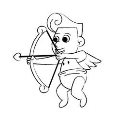 Cupid with love arch sketch vector