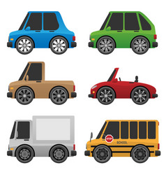 Cute cars and trucks vector