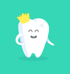 Cute cartoon tooth character with face eyes vector