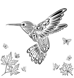 Decorative hummingbirds mandala adult vector