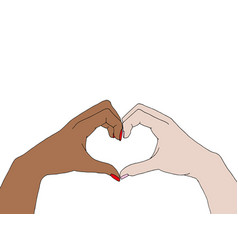 Different people raising hands doing an heart sign vector