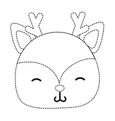 dotted shape shy deer head wild animal vector image