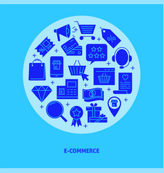 e-commerce round concept banner in flat style with vector image