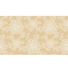Elegant white flower seamless pattern on beige vector image