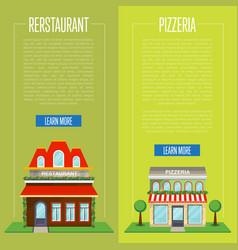 Facade of pizzeria and restaurant flyer set vector