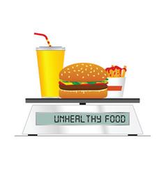 Fast food on digital scales vector