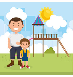 father with son on park vector image
