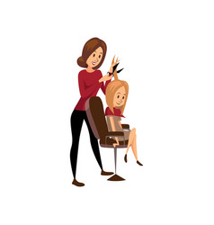 Female hairdresser cutting hair of young woman vector