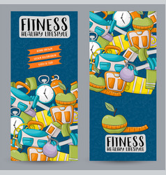 Fitness and healthy lifestyle vertical banner vector