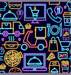 food delivery seamless pattern vector image
