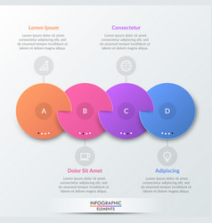 four multicolored round elements with slits placed vector image