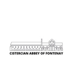 France cistercian abbey of fontenay landmark line vector