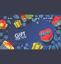 Gift for you box with bow vector