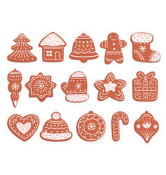 gingerbread cookies christmas bread ornament vector image