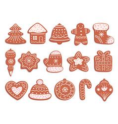 Gingerbread cookies christmas bread ornament vector