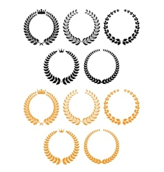 Golden and black laurel wreaths with crowns vector image