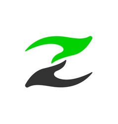 hand logo letter z humanity social flat vector image