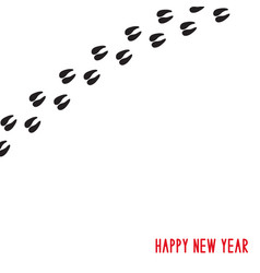 happy new year pigs hoof prints vector image