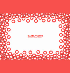 Hearts red flat icons frame isolated on white vector