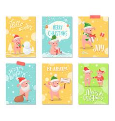 hello winter joy of winter merry christmas cards vector image
