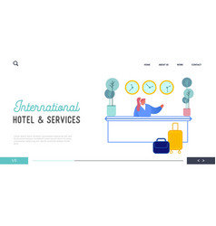 hotel reception website landing page receptionist vector image