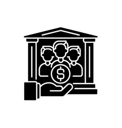 Institutional donor black glyph icon vector
