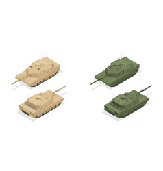 isometric american main battle tank m1a2 icons vector image