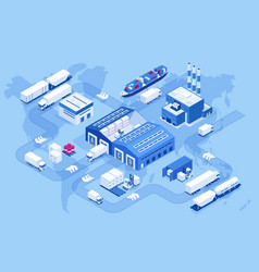 Isometric global logistics network air cargo vector
