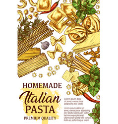 Italian pasta cooking sketch ingredients vector