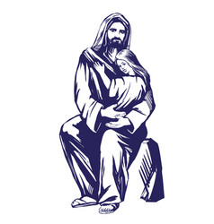 jesus christ son of god holding a child in his vector image