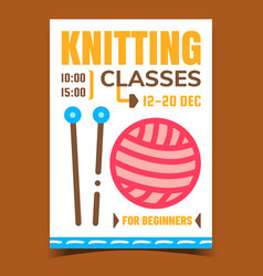 Knitting classes creative promotion banner vector