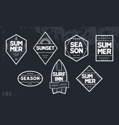 line art geometric summer emblems set vector image