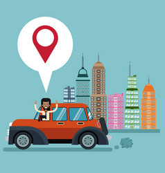Man car city background pointer map vector
