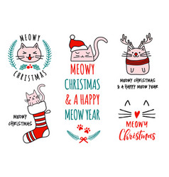 Meowy christmas with cute cats set vector