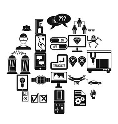 mind icons set simple style vector image