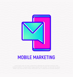 mobile marketing thin line icon vector image