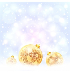 Ornate golden Christmas balls on snow vector