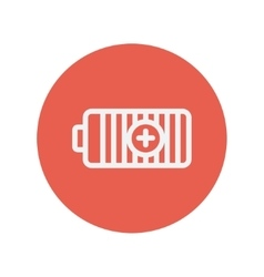 Positive power battery thin line icon vector