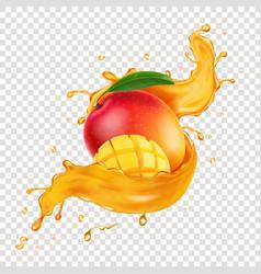 realistic mango juice splash and mango vector image