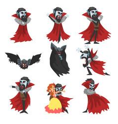 Reepy count dracula set vampire cartoon vector