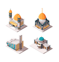 religion buildings muslim mosque lutheran church vector image