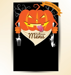 Scary pumpkin holding spoon and knives for vector image