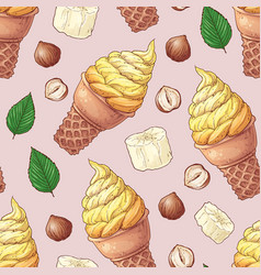seamless pattern ice cream banana nuts vector image