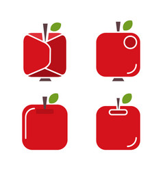 set abstract icons apples vector image