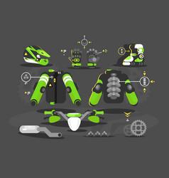 Set equipment for moto cross vector