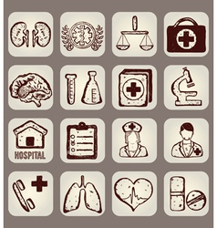 Set of calligraphic medical icons vector image vector image