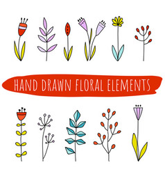 Set of doodle flowers and leaves hand drawn vector
