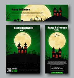 Set of posters flyers and banners for halloween vector
