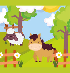 sheep and horse fence flowers trees meadow farm vector image