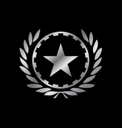 Silver working class hero emblem symbol design vector